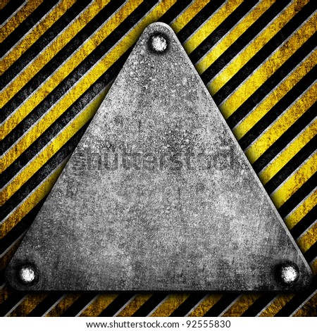triangle plate with warning stripe - stock photo