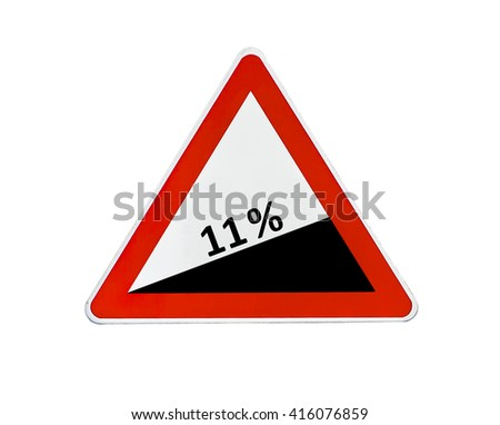 Triangle road sign dangerous descent