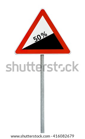 Triangle road sign dangerous descent on rod