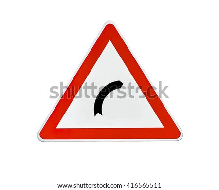 Triangle road sign right turn - stock photo