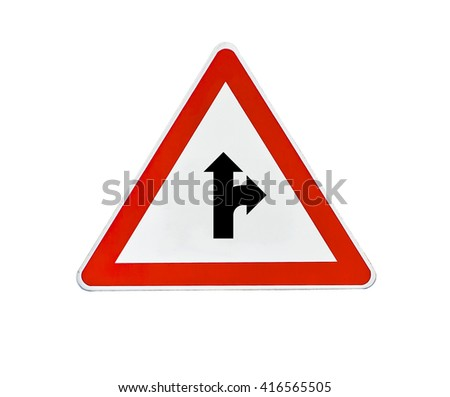 Triangle road sign the right direction - stock photo
