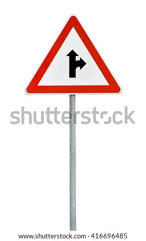 Triangle road sign the right direction on rod - stock photo