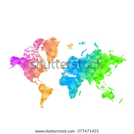 triangle shape multi-color world map illustration design graphic - stock photo