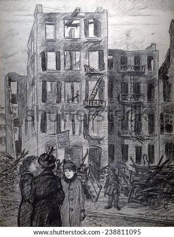 Triangle Shirtwaist fire. 'Girls wanted'. Women standing across street from the burned-out shell of a building hangs the sign, 'Girls wanted.' Editorial crayon drawing, Henry Glintenkamp, 1911 - stock photo