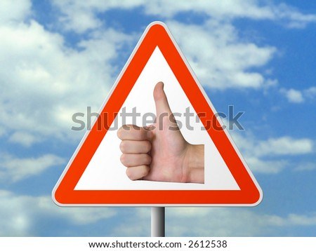 Triangle sign with hand (okay), sky background - stock photo