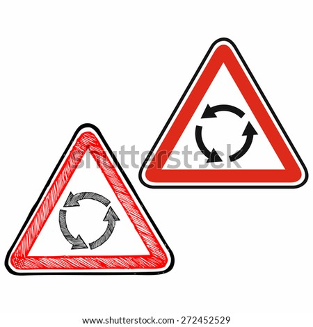 Triangle traffic sign for roundabout. Warning sign. Doodle style. Raster version - stock photo