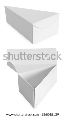 triangle white Package Box isolated over white background - stock photo