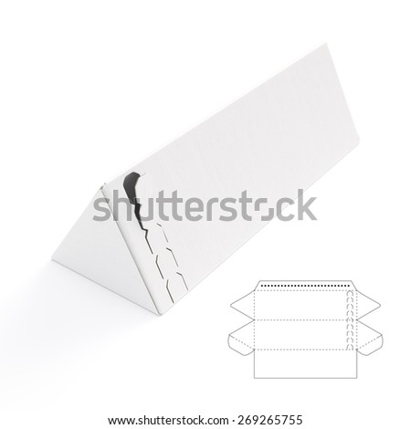 Triangular Box with Die Cut Template - stock photo