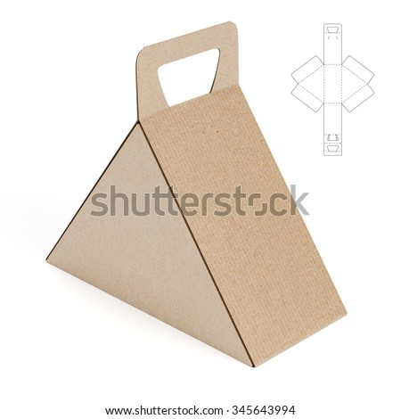 Triangular caring box die cut template stock illustration for Triangle packaging template
