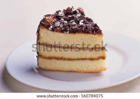Triangular piece of sponge cake with chocolate topping
