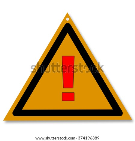 Triangular sign with the red exclamation mark on a yellow background
