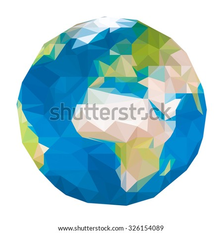 triangular world map - stock photo