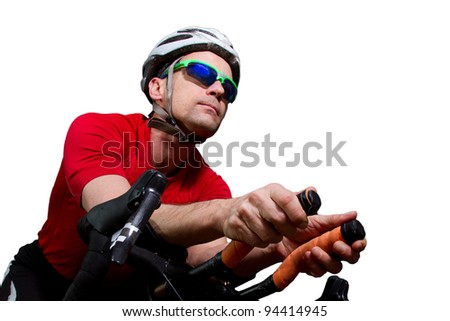 triathlet on the bicycle - stock photo