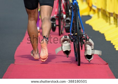 Triathlon bike the transition zone - stock photo