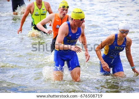 Triathlon race in village Talin. - 1.7.2017 -  The race was part of the Triathlon South Bohemian Cup