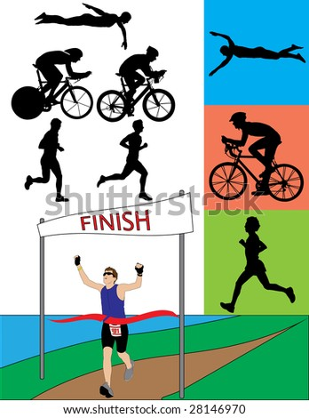 Triathlon Silhouettes - Raster Version - stock photo