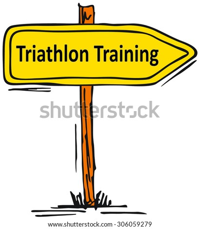 Triathlon Training - direction arrow symbol isolated on white - stock photo