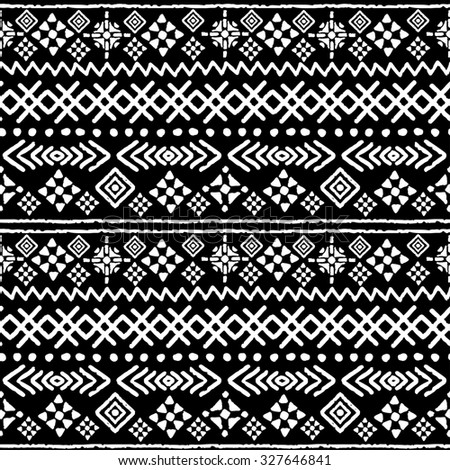 Tribal Art Boho Seamless Pattern Ethnic Geometric Print Aztec Repeating Background Texture In Black