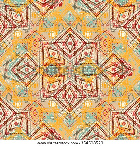 Tribal art ethnic seamless pattern. Boho print. Ethno ornament. Cloth design, wallpaper, wrapping - stock photo