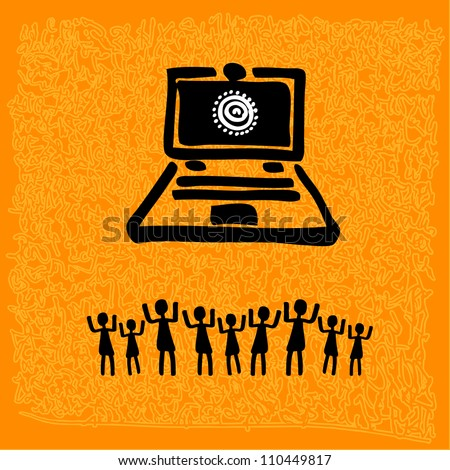 tribal art - laptop with peoples