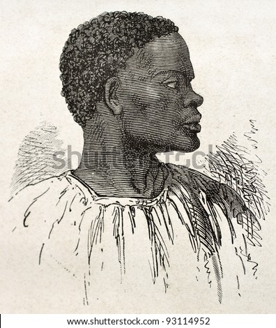 Tribal chief old engraved portrait (southern Sudan region). Created by Neuville, published on Le Tour du Monde, Paris, 1867 - stock photo