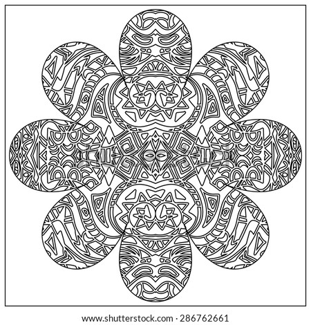 Tribal coloring zentangle - stock photo