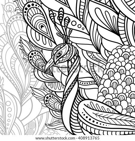 Tribal Decorative Peacock. Graceful Bird On Background. Zentangle Style - stock photo
