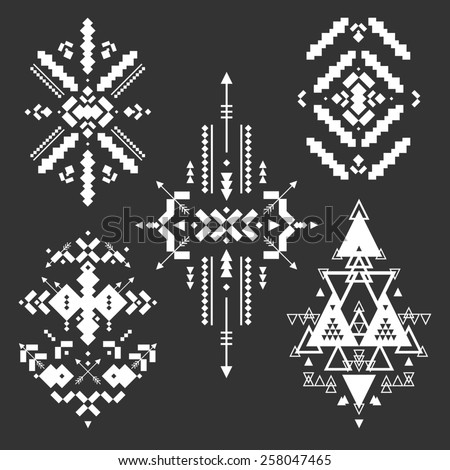Tribal Elements Ethnic Collection Aztec Stile Art Design Isolated On