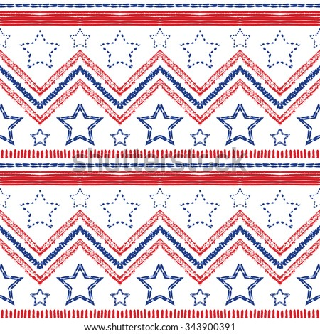 Tribal ethnic patriotic red, blue seamless pattern on white background. illustration for American symbol design. USA flag. Texture wallpaper. Star, stripe and zig zag shapes. Hand drawn style. - stock photo
