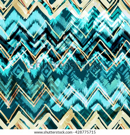 Tribal ethnic pattern seamless. Hand drawn background. Blue saturated chevron hand drawn illustration. Watercolor markers painting. - stock photo