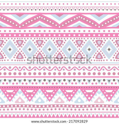 Tribal ethnic seamless stripe pattern. Illustration for your cute feminine romantic design. Aztec sign on white background. Pink and blue colors. Borders and frames. - stock photo