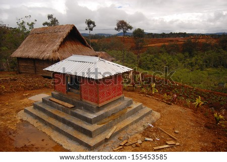 Tribal grave in village at highlands - stock photo
