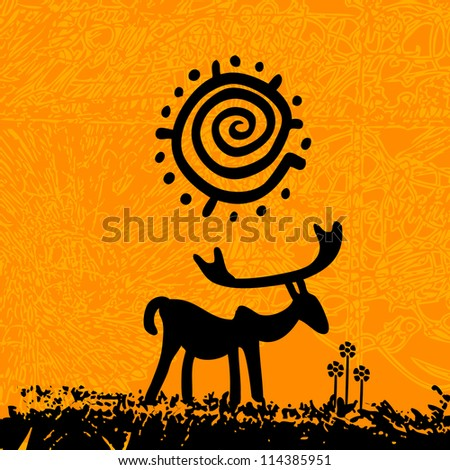 tribal grunge art - deer under the sun with flowers
