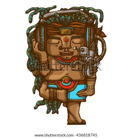 Tribal man with a dreadlocks hairstyle listening music by his big headphones. Hand drown style illustration - stock photo