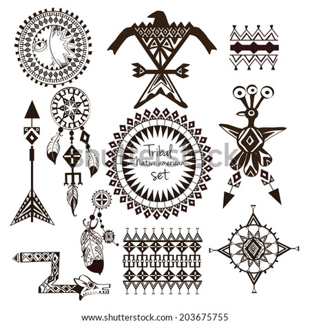 Tribal native american indian tribes ornamental black and white decorative elements set isolated  illustration - stock photo