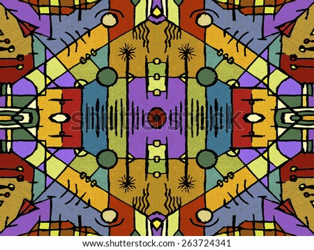 Tribal or ethnic style geometric abstract seamless pattern in vivid multicolored tones created with digital technique. - stock photo