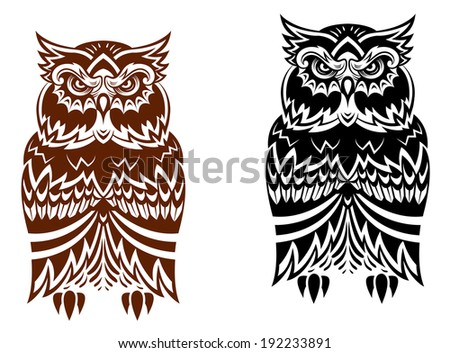 Tribal owl with decorative ornament isolated on white background. Vector version also available in gallery - stock photo