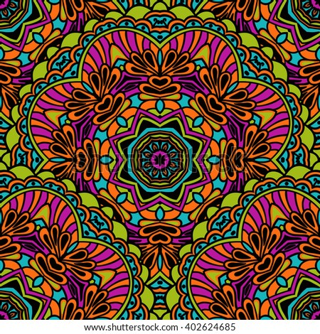 Tribal seamless pattern. Bright colorful colors in Indian ethnic style. Rasterized version. - stock photo