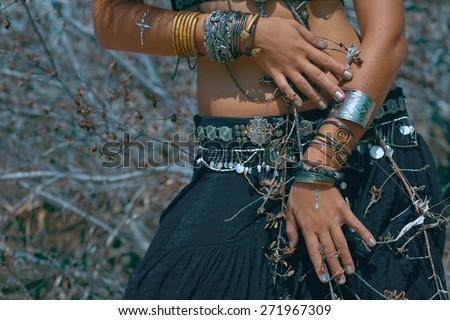 Tribal style girl  - stock photo
