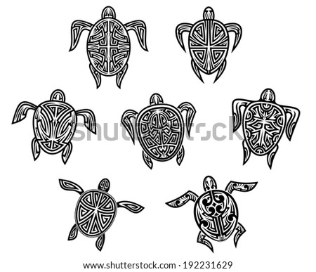 Tribal turtles tattoos set isolated on white background. Vector version also available in gallery - stock photo