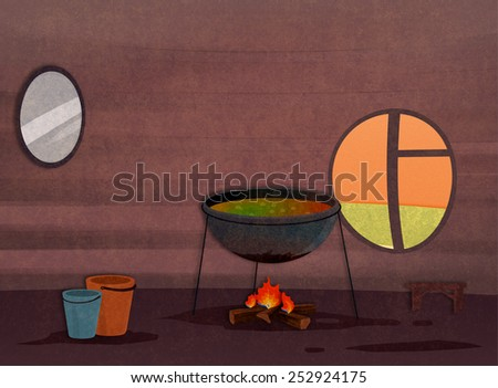Tribe house kitchen interior. Food preparation process. Cartoon stylish background raster illustration. - stock photo