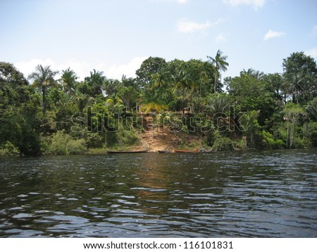 Tributary of the Amazon River near Jutai, on the upper Amazon - stock photo