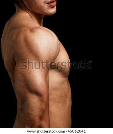 Triceps and shoulder of male with muscular fit body