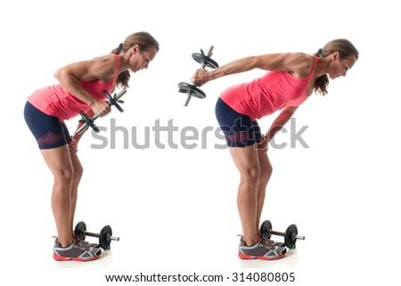 Triceps kickback exercise. Studio shot over white. - stock photo