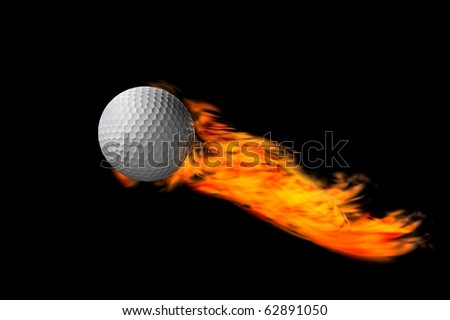 trick or eplosive golf ball and concept fire render - stock photo
