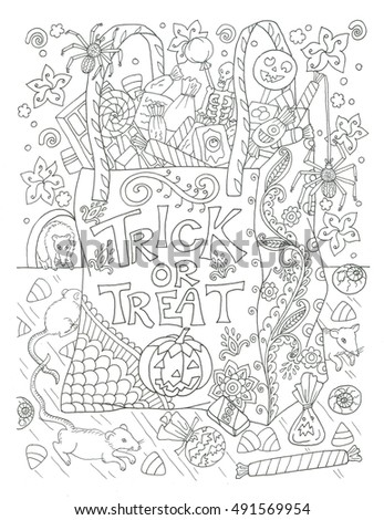 Trick Or Treat Halloween Bag Coloring Page