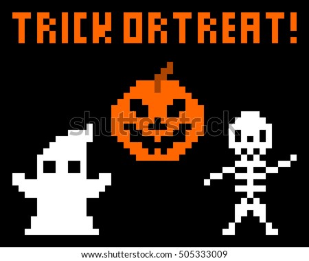 Trick or treat halloween pixel art with jack o' lantern, skeleton, and ghost