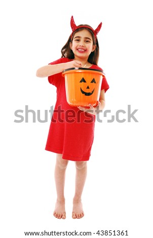 Trick or treat isolated on white