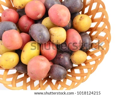 Tricolor mini potatoes in bamboo basket shot in natural light with room for text