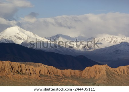 Tricolor mountains near Lake Issyk-Kul, Kyrgyzstan.